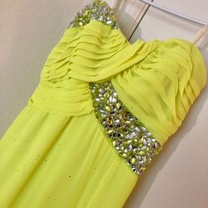 Jodi Kristopher Neon Green Prom Dress